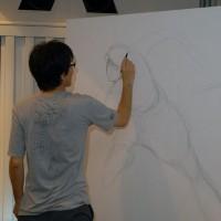 高橋陽一先生によるライブペインティング。