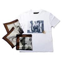 田中「ジョー・コンゾの作品は、このようにTシャツに落とし込み販売もしました。写真を転写したシルクスカーフがセットになっているという、初期LWTスタイルを象徴する思いで溢れる一品です。」