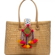 TB Rattan Tote in Natural-Vachetta