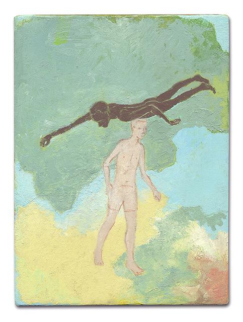 《無題(「川に着く前に橋を渡るな」のための習作)》 油彩、ろう画 / 木製パネルにカンヴァス