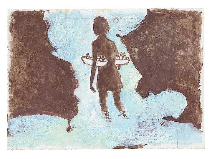 《無題(「川に着く前に橋を渡るな」のための習作)》 油彩、ろう画 / 木製パネル