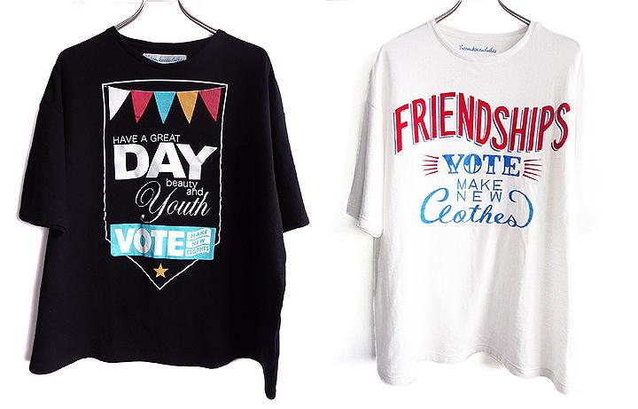 ビューティ&ユース別注のHAVE A GREAT DAYビッグTシャツ(左) 7,140円、SHIPS限定のFRIENDSHIPSビッグTシャツ(右) 7,140円