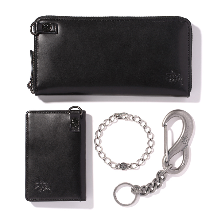 Leather Zip Long Wallet 24,000円+税、Leather Money Clip Card Case 12,000円+税、SS-Link Bracelet SV925 23,000円+、S Carabiner Key Chain 9,500円+税