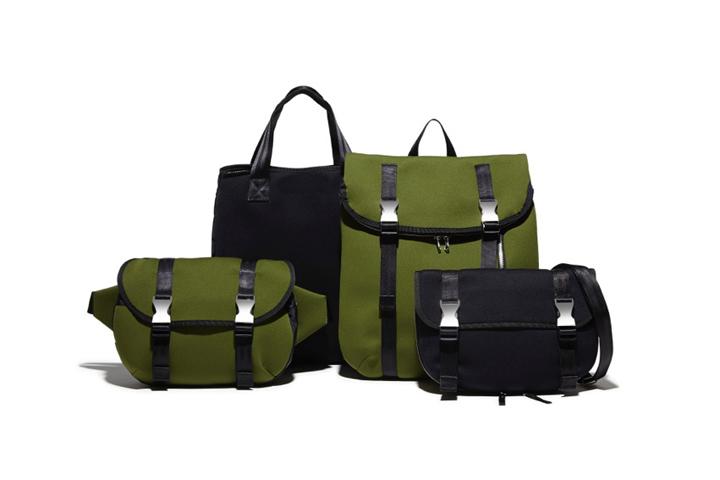 左からWAIST BAG 21,000円、TOTE BAG 20,000円、RUCKSACK 24,000円、SHOULDER BAG 18,000円
