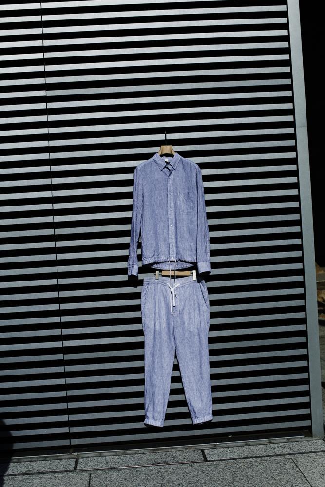 シャツジャケット13,000円 + 税、ロングパンツ 14,000円 + 税