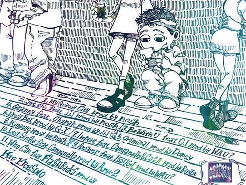 KID FRESINO『Shadin'』 Kid FresinoがAr-μ2とのジョイント作『Backward Decision』を発表後、渡米前の置き土産として2014年9月にフリーダウンロードでリリースしたストリート・アルバム。Fla$hbackSの新曲「Who Can」をはじめ、全11曲には圧倒的な熱量が注ぎ込まれている。
