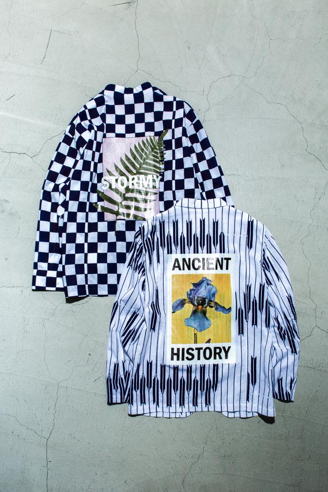 野良着シャツ 65,000円 + 税、ジャケット 45,000円 + 税