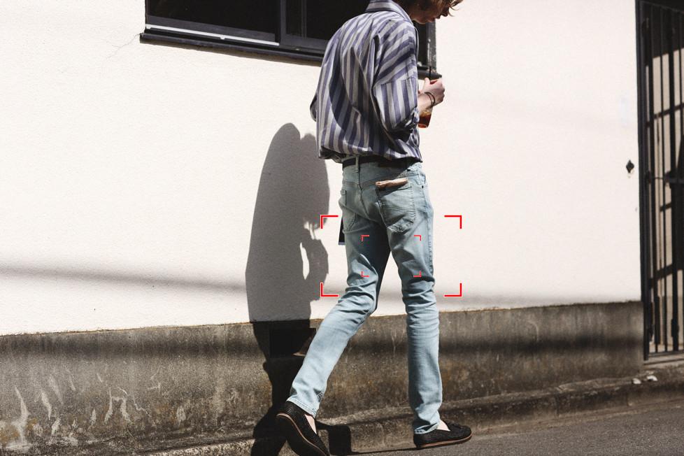 "Leeのデニムパンツ""Hi-Standard SKINNY"" 12,000円(Lee Japan TEL:03-5604-8948)"