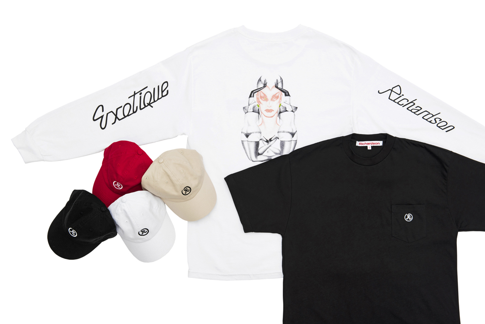 キャップ 各7,900円、ロングスリーヴTシャツ 17,000円、Tシャツ 6,900円(全て税抜価格)