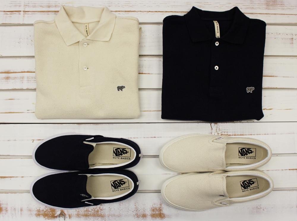 ポロシャツ 各18,000円 + 税、スニーカー 各10,000円 + 税