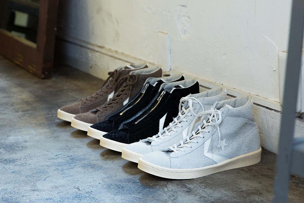 取り外し可能なジップが付く、[nonnative × Converse]のPro Leather。各20,000円 + 税