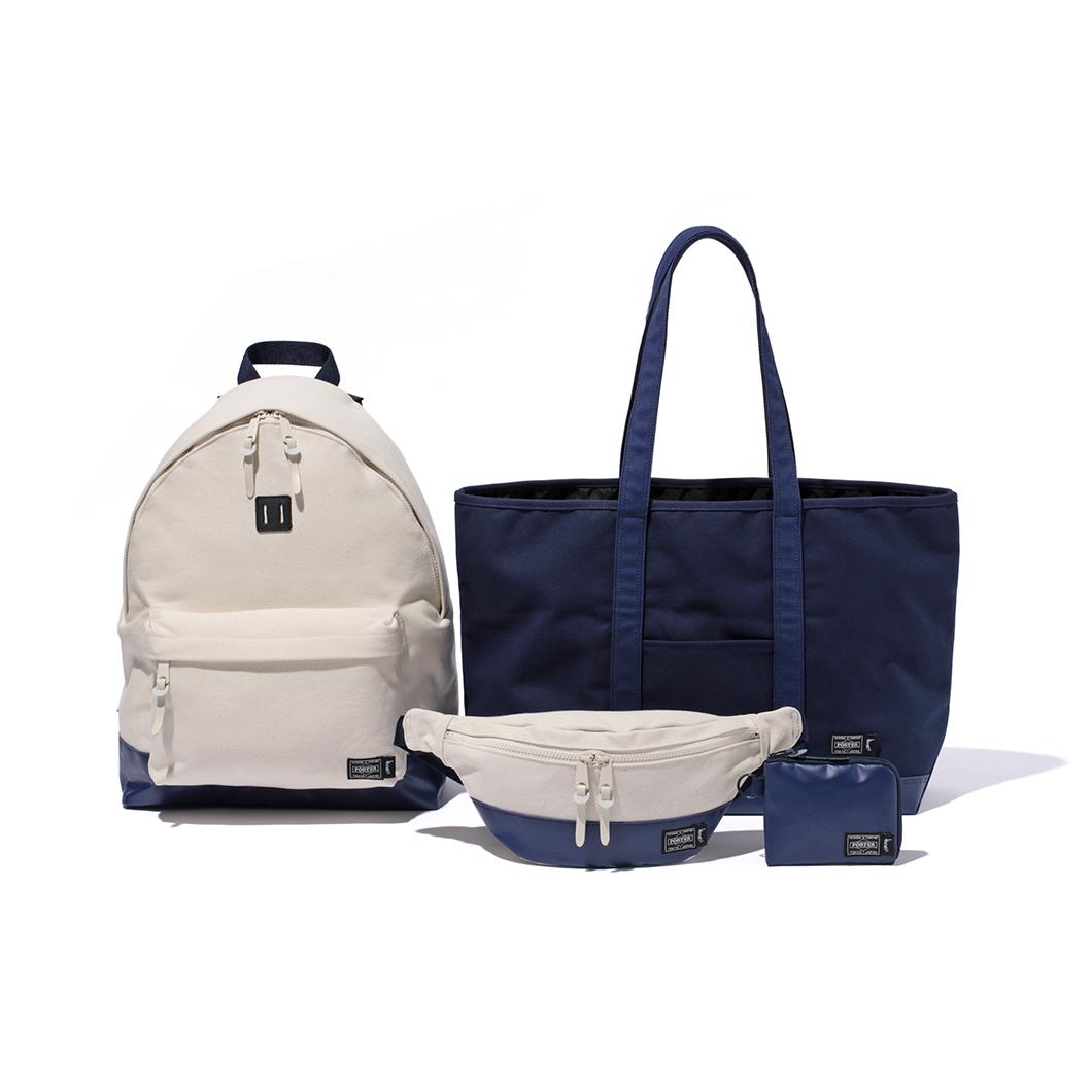 Day Pack 23,000円 + 税、Tote Bag 18,000円 + 税、 Waist Bag 15,000 + 税、Wallet 6,000円 + 税