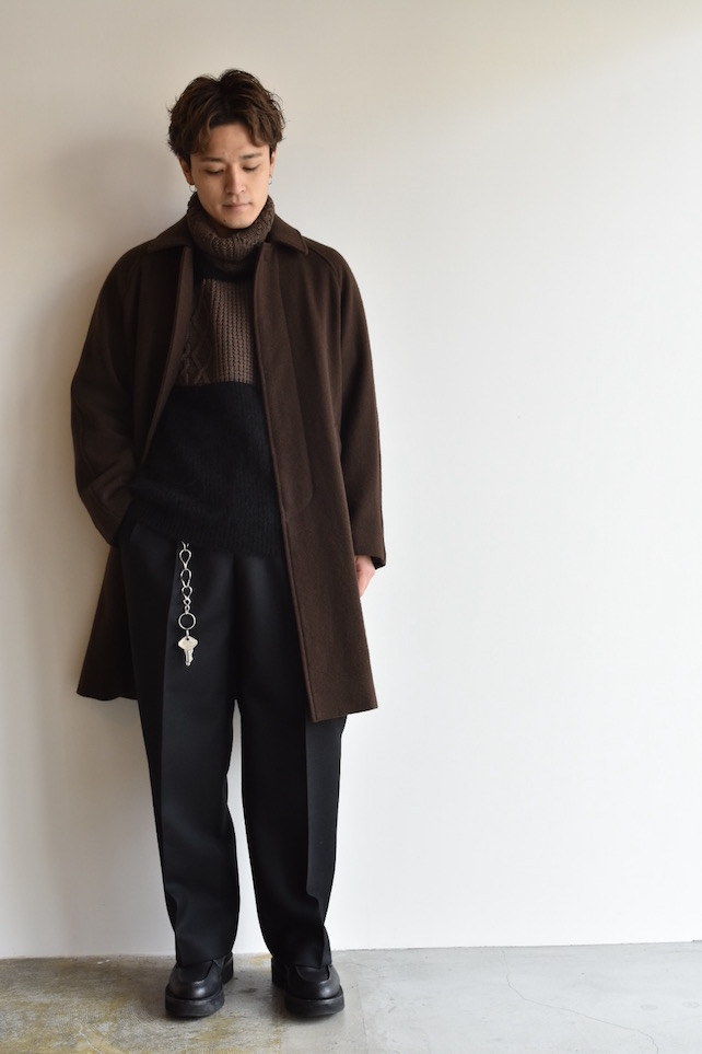 staff 深澤 coat[COMOLI]MELTON BAL COLLAR COAT 110,000円 + 税 knit[kolor]KID MOHAIR TURTLE NECK 52,000円 + 税 bottoms[UNUSED]BELTED WOOL PANT 31,000円 + 税 accessory[SUNSEA]CLIP WALLET CHAIN 80,000円 + 税 shoes[foot the coacher]COUNTRY MANNER U-TIP SHOES 60,000円 + 税